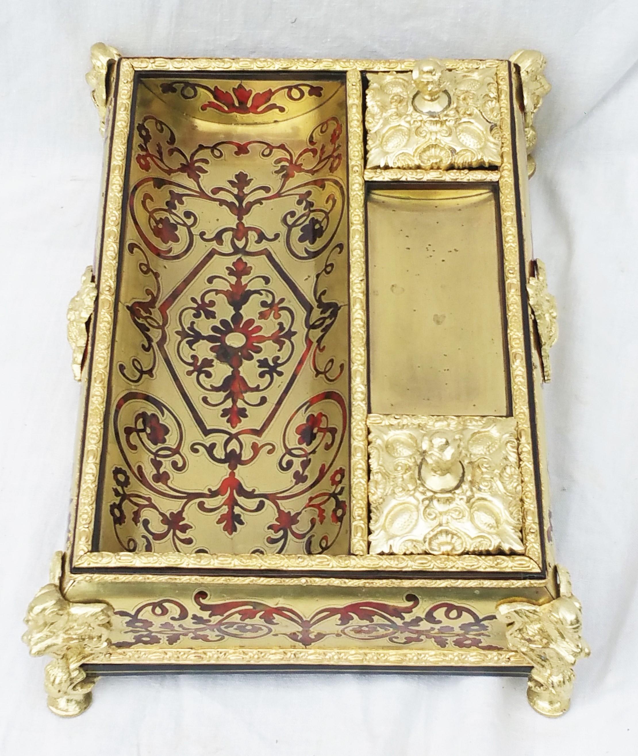 Encier de bureau marqueterie Boulle Napoleon III