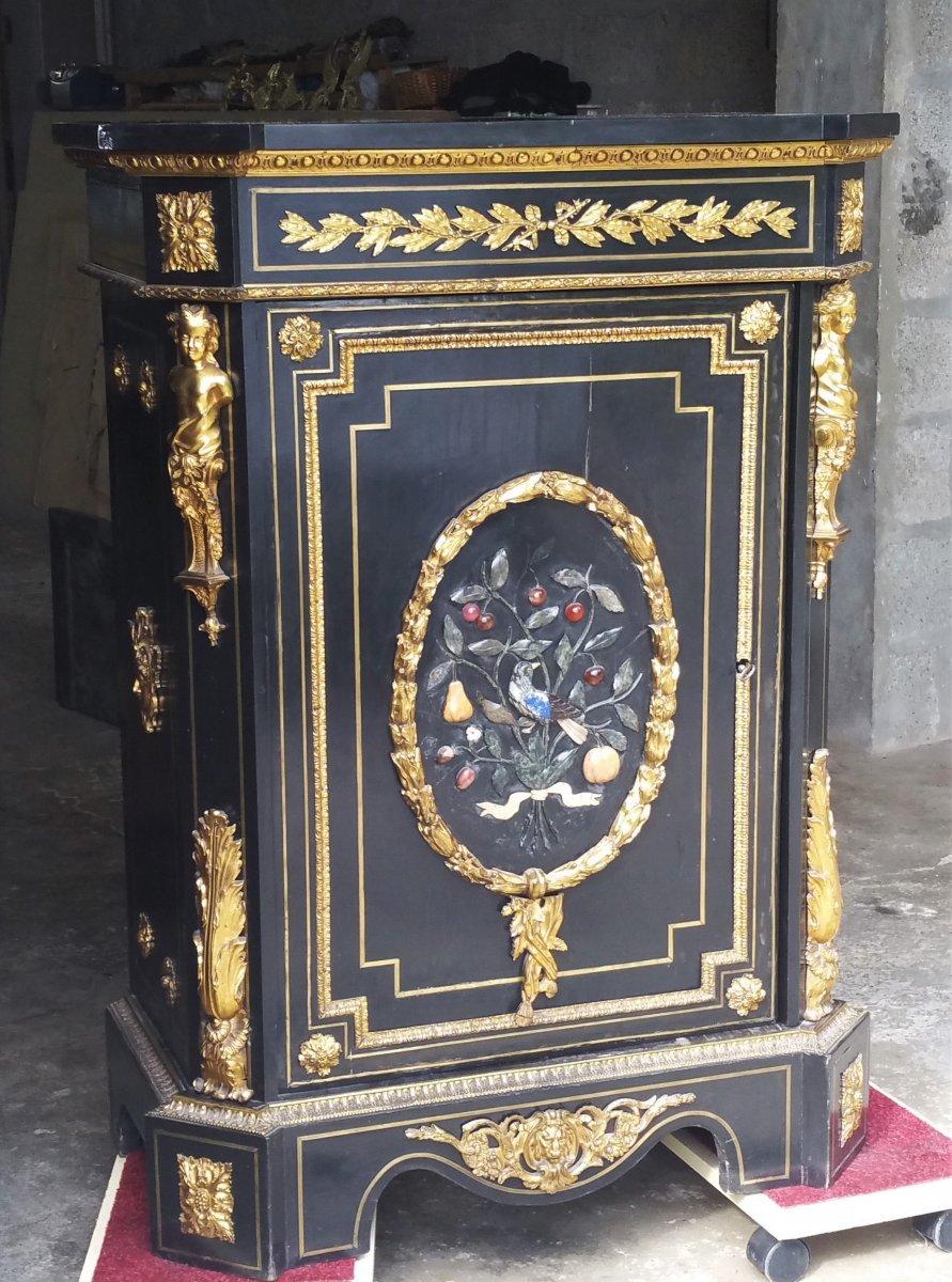 Rare meuble d'appui marqueterie Boulle & pierres dures Napoleon III signé BEFORT jeune