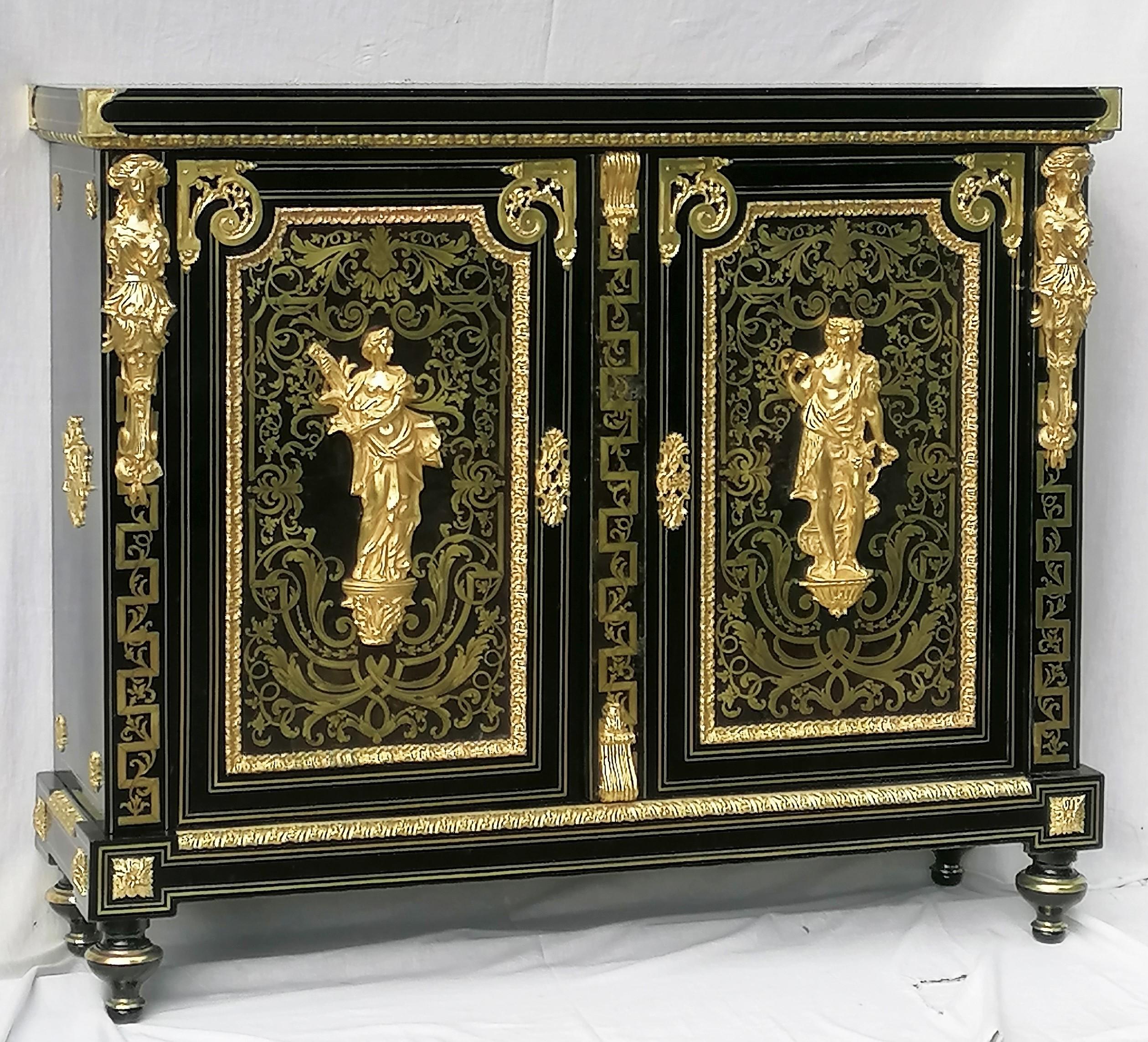 Meuble d'apparat 2 portes Boulle Napoleon III BEFORT jeune